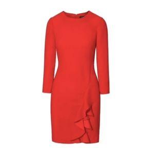 NWOT Banana Republic Red Shift Dress w Ruffle {KR}